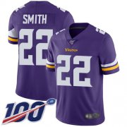 Wholesale Cheap Nike Vikings #22 Harrison Smith Purple Team Color Men's Stitched NFL 100th Season Vapor Limited Jersey