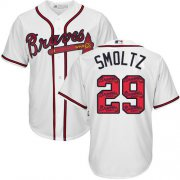 Wholesale Cheap Braves #29 John Smoltz White Team Logo Fashion Stitched MLB Jersey