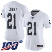 Wholesale Cheap Nike Raiders #21 Gareon Conley White Women's Stitched NFL 100th Season Vapor Limited Jersey