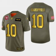 Wholesale Cheap Nike 49ers #10 Jimmy Garoppolo Men's Olive Gold 2019 Salute to Service NFL 100 Limited Jersey