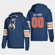 Wholesale Cheap Edmonton Oilers Personalized Lace-Up Pullover Hoodie Royal