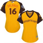 Wholesale Cheap Royals #16 Paulo Orlando Gold 2016 All-Star American League Women's Stitched MLB Jersey