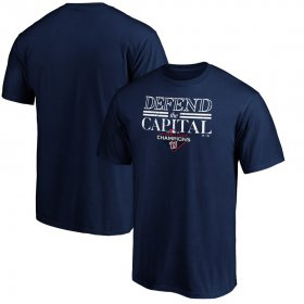 Wholesale Cheap Washington Nationals Majestic 2019 National League Champions Hometown Battery T-Shirt Navy