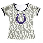 Wholesale Cheap Women's Indianapolis Colts Sideline Legend Authentic Logo Zebra Stripes T-Shirt