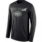 Wholesale Cheap Men's New York Jets Nike Black Legend Staff Practice Long Sleeves Performance T-Shirt