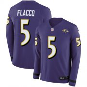 Wholesale Cheap Nike Ravens #5 Joe Flacco Purple Team Color Men's Stitched NFL Limited Therma Long Sleeve Jersey