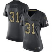 Wholesale Cheap Nike Cowboys #31 Trevon Diggs Black Women's Stitched NFL Limited 2016 Salute to Service Jersey