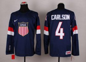 Wholesale Cheap 2014 Olympic Team USA #4 John Carlson Navy Blue Stitched NHL Jersey