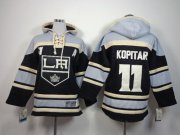 Wholesale Cheap Kings #11 Anze Kopitar Black Sawyer Hooded Sweatshirt Stitched Youth NHL Jersey