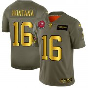 Wholesale Cheap San Francisco 49ers #16 Joe Montana NFL Men's Nike Olive Gold 2019 Salute to Service Limited Jersey
