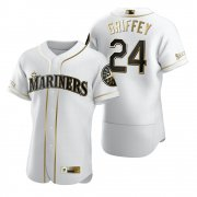 Wholesale Cheap Seattle Mariners #24 Ken Griffey Jr. White Nike Men's Authentic Golden Edition MLB Jersey