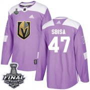 Wholesale Cheap Adidas Golden Knights #47 Luca Sbisa Purple Authentic Fights Cancer 2018 Stanley Cup Final Stitched NHL Jersey