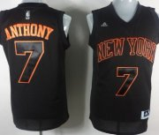 Wholesale Cheap New York Knicks #7 Carmelo Anthony All Black With Orange Fashion Jersey