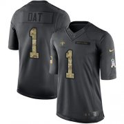 Wholesale Cheap Nike Saints #1 Who Dat Black Men's Stitched NFL Limited 2016 Salute To Service Jersey