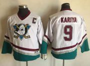 Wholesale Cheap Ducks #9 Paul Kariya White CCM Throwback Youth Stitched NHL Jersey