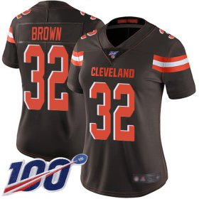 Wholesale Cheap Nike Browns #32 Jim Brown Brown Team Color Women\'s Stitched NFL 100th Season Vapor Limited Jersey