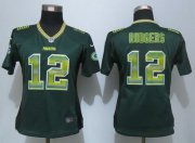 Wholesale Cheap Nike Packers #12 Aaron Rodgers Green Team Color Women's Stitched NFL Elite Strobe Jersey