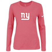 Wholesale Cheap Women's Nike New York Giants Of The City Long Sleeve Tri-Blend NFL T-Shirt Pink