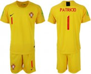 Wholesale Cheap Portugal #1 Patricio Yellow Goalkeeper Soccer Country Jersey