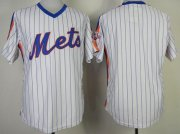 Wholesale Cheap Mitchell And Ness Mets Blank White(Blue Strip) Throwback Stitched MLB Jersey
