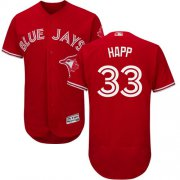 Wholesale Cheap Blue Jays #33 J.A. Happ Red Flexbase Authentic Collection Canada Day Stitched MLB Jersey