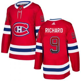Wholesale Cheap Adidas Canadiens #9 Maurice Richard Red Home Authentic Drift Fashion Stitched NHL Jersey