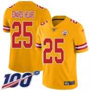 Wholesale Cheap Nike Chiefs #25 Clyde Edwards-Helaire Gold Youth Stitched NFL Limited Inverted Legend 100th Season Jersey