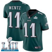 Wholesale Cheap Nike Eagles #11 Carson Wentz Midnight Green Team Color Super Bowl LII Men's Stitched NFL Vapor Untouchable Limited Jersey