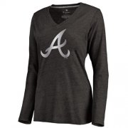 Wholesale Cheap Women's Atlanta Braves Platinum Collection Long Sleeve V-Neck Tri-Blend T-Shirt Black