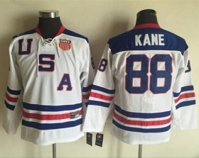 Wholesale Cheap Team USA #88 Patrick Kane White 1960 Throwback Stitched Youth NHL Jersey