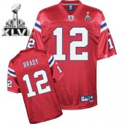 Wholesale Cheap Patriots #12 Tom Brady Red Alternate Super Bowl XLVI Embroidered NFL Jersey