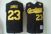 Wholesale Cheap Men's Cleveland Cavaliers #23 LeBron James 2015 The Finals 2009 Black Hardwood Classics Soul Swingman Throwback Jersey