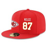 Wholesale Cheap Kansas City Chiefs #87 Travis Kelce Snapback Cap NFL Player Red with White Number Stitched Hat