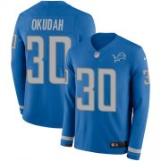 Wholesale Cheap Nike Lions #30 Jeff Okudah Blue Team Color Men's Stitched NFL Limited Therma Long Sleeve Jersey