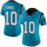Wholesale Cheap Nike Panthers #10 Curtis Samuel Blue Women's Stitched NFL Limited Rush Jersey
