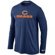 Wholesale Cheap Nike Chicago Bears Authentic Logo Long Sleeve T-Shirt Dark Blue