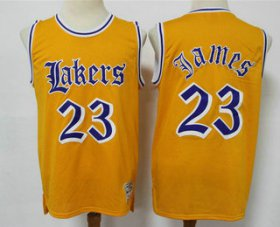 Wholesale Cheap Men\'s Los Angeles Lakers #23 LeBron James Yellow English Version Hardwood Classics Soul Swingman Throwback Jersey