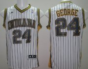Wholesale Cheap Indiana Pacers #24 Paul George Revolution 30 Swingman White With Pinstripe Jersey