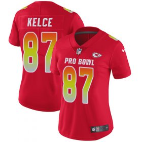 Wholesale Cheap Nike Chiefs #87 Travis Kelce Red Women\'s Stitched NFL Limited AFC 2018 Pro Bowl Jersey