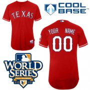 Wholesale Cheap Rangers Customized Authentic Red Cool Base MLB Jersey w/2010 World Series Patch (S-3XL)