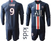 Wholesale Cheap Paris Saint-Germain #9 Cavani Home Long Sleeves Kid Soccer Club Jersey
