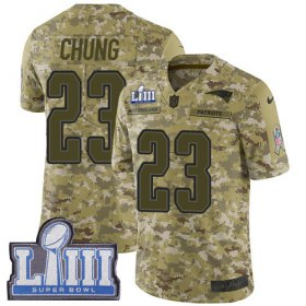 Wholesale Cheap Nike Patriots #23 Patrick Chung Camo Super Bowl LIII Bound Men\'s Stitched NFL Limited 2018 Salute To Service Jersey