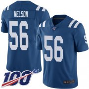 Wholesale Cheap Nike Colts #56 Quenton Nelson Royal Blue Team Color Men's Stitched NFL 100th Season Vapor Limited Jersey