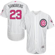 Wholesale Cheap Cubs #23 Ryne Sandberg White(Blue Strip) Flexbase Authentic Collection Mother's Day Stitched MLB Jersey