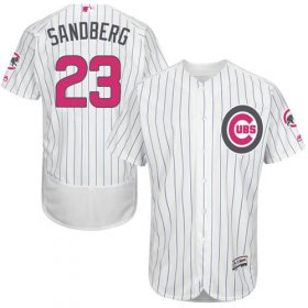 Wholesale Cheap Cubs #23 Ryne Sandberg White(Blue Strip) Flexbase Authentic Collection Mother\'s Day Stitched MLB Jersey