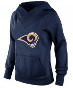 Wholesale Cheap Women's Los Angeles Rams Logo Pullover Hoodie Navy Blue
