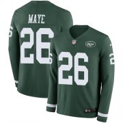 Wholesale Cheap Nike Jets #26 Marcus Maye Green Team Color Men's Stitched NFL Limited Therma Long Sleeve Jersey