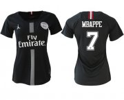 Wholesale Cheap Women's Jordan Paris Saint-Germain #7 Mbappe Home Soccer Club Jersey