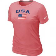 Wholesale Cheap Women's USA Olympics USA Flag Collection Locker Room T-Shirt Pink