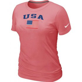 Wholesale Cheap Women\'s USA Olympics USA Flag Collection Locker Room T-Shirt Pink